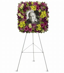 Mosaic of Memories Square Easel Wreath from Westbury Floral Designs in Westbury, NY