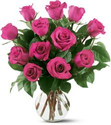 12 Hot Pink Roses from Westbury Floral Designs in Westbury, NY
